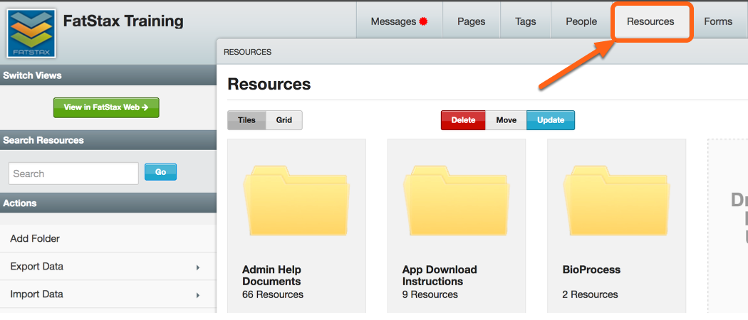 "Navigate to the ""Resources"" section"