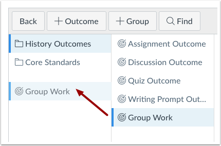Drag and Drop Outcome or Outcome Group