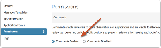 Check or uncheck boxes to enable or disable comments and labels