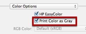 "Select ""Print Color as Gray"""