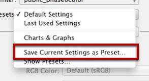 "Select ""Save Current Settings as Preset..."""