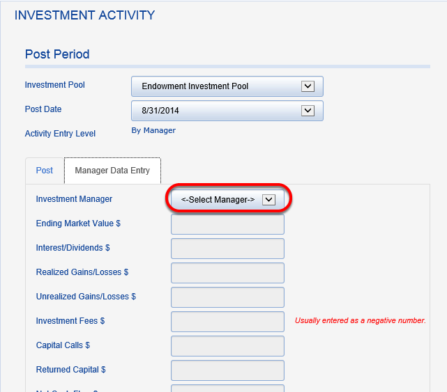 Enter your investment manager data for all other managers and reconcile each.