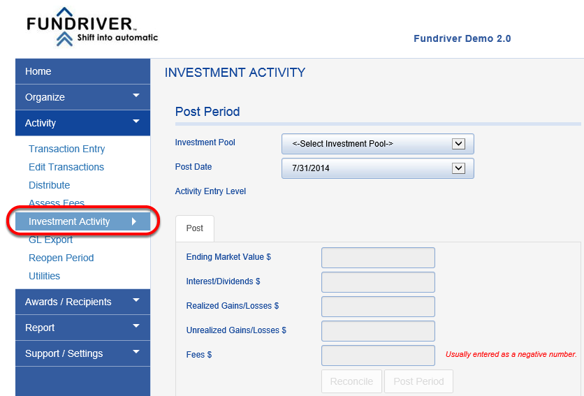 Once save is complete, go back to ACTIVITY > INVESTMENT ACTIVITY.