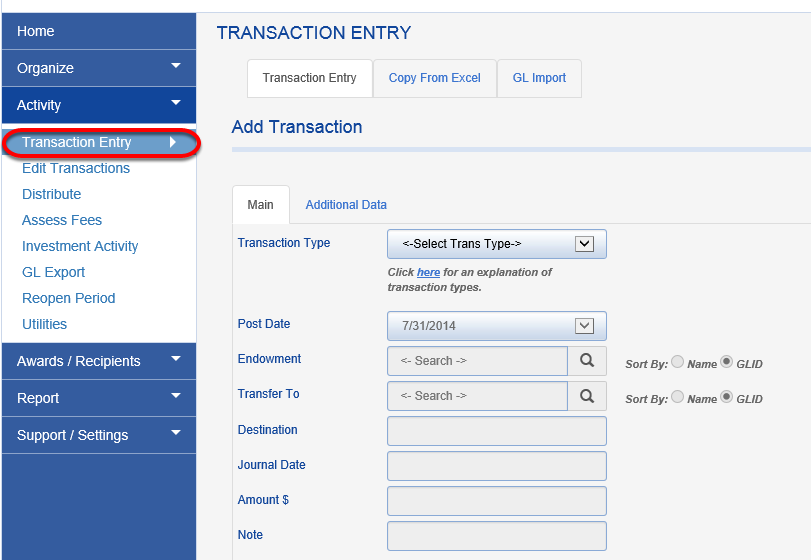 To add the DTDF transaction, click on ACTIVITY > TRANSACTION ENTRY.