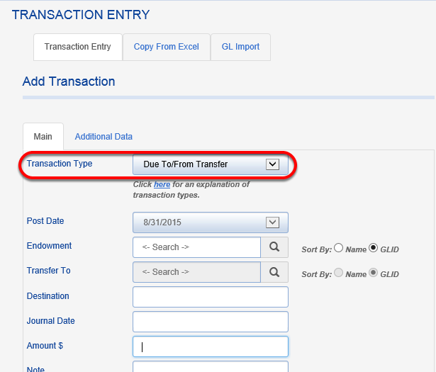 Add a TRANSACTION TYPE of DUE TO/DUE FROM TRANSFER.