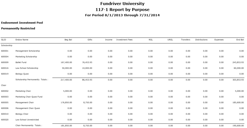 117-1 Report by Purpose: Shows the net asset balances by fund purpose.