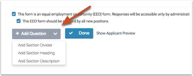 """To add elements to the form, click the down arrow to the right of """"Add Question"""" at the bottom left of the page"""