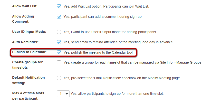Check Publish to Calendar.