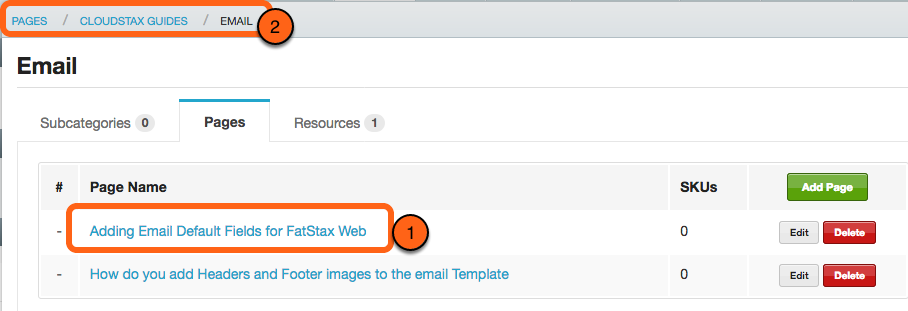 2. Select the Page, Category, or Sub-Category you want to link a Resource to