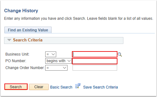 Change History Search Page