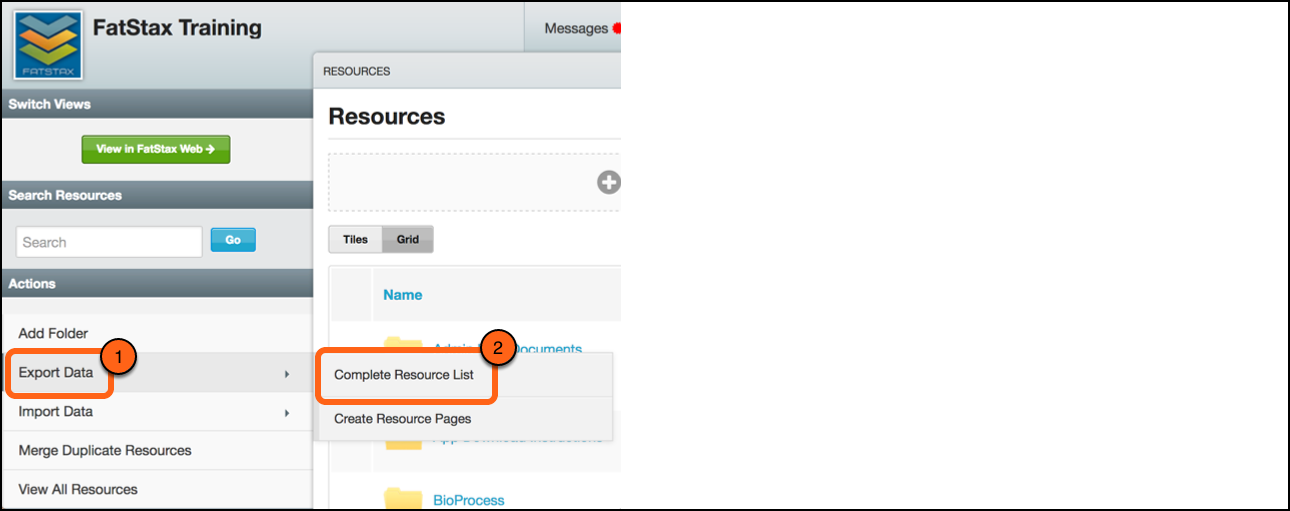 Under Actions, select Export Resource List