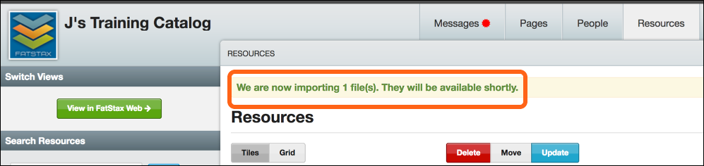 The Resource will begin to import and process