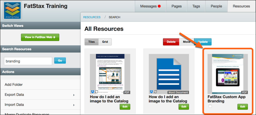 Find and select the Resource you want to copy