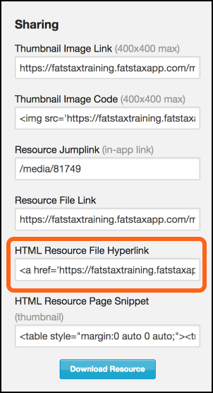 HTML Resource Code Hyperlink