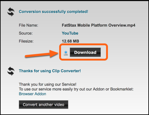 The video will convert to your specifications. Select Download to download the video.