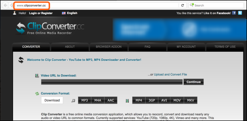Go to the website http://www.clipconverter.cc/ in your web browser