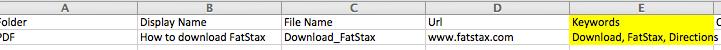 When preparing your CSV, add a Keywords column