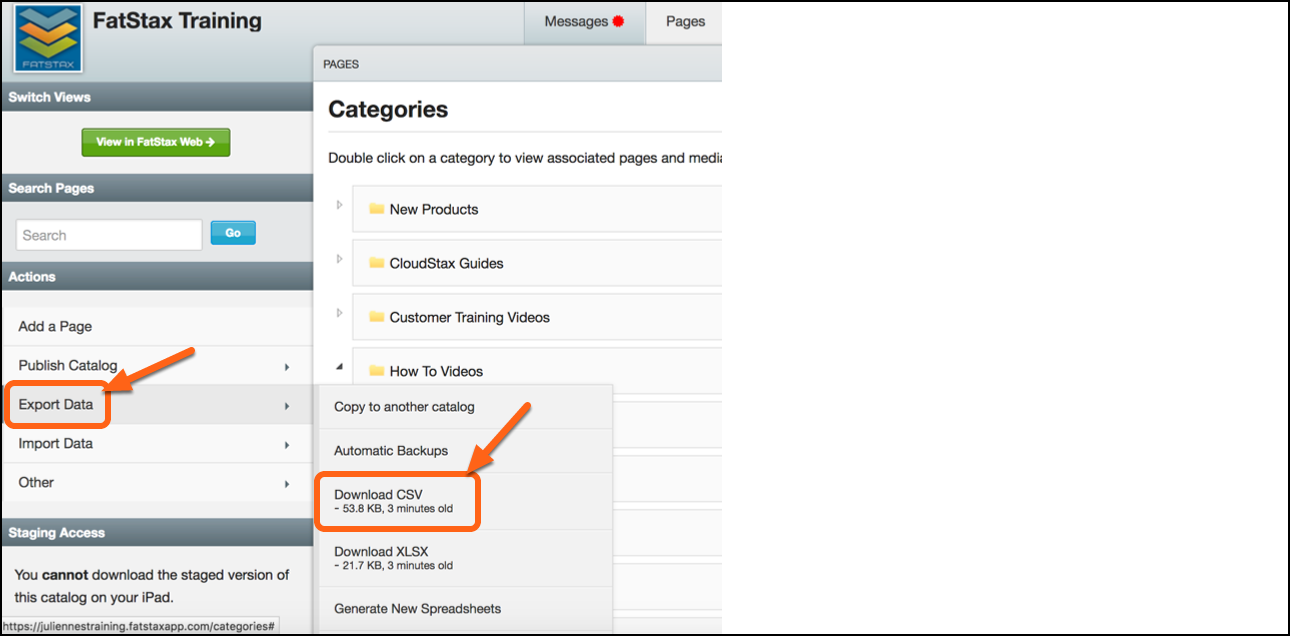 2. Select Export Data > Select Download CSV