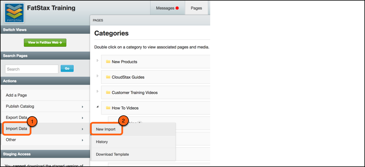 5. Once you are finished adding the URL, Save the file, and select Import Data > New Import in CloudStax
