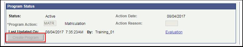 Program Status Create Program button gray out