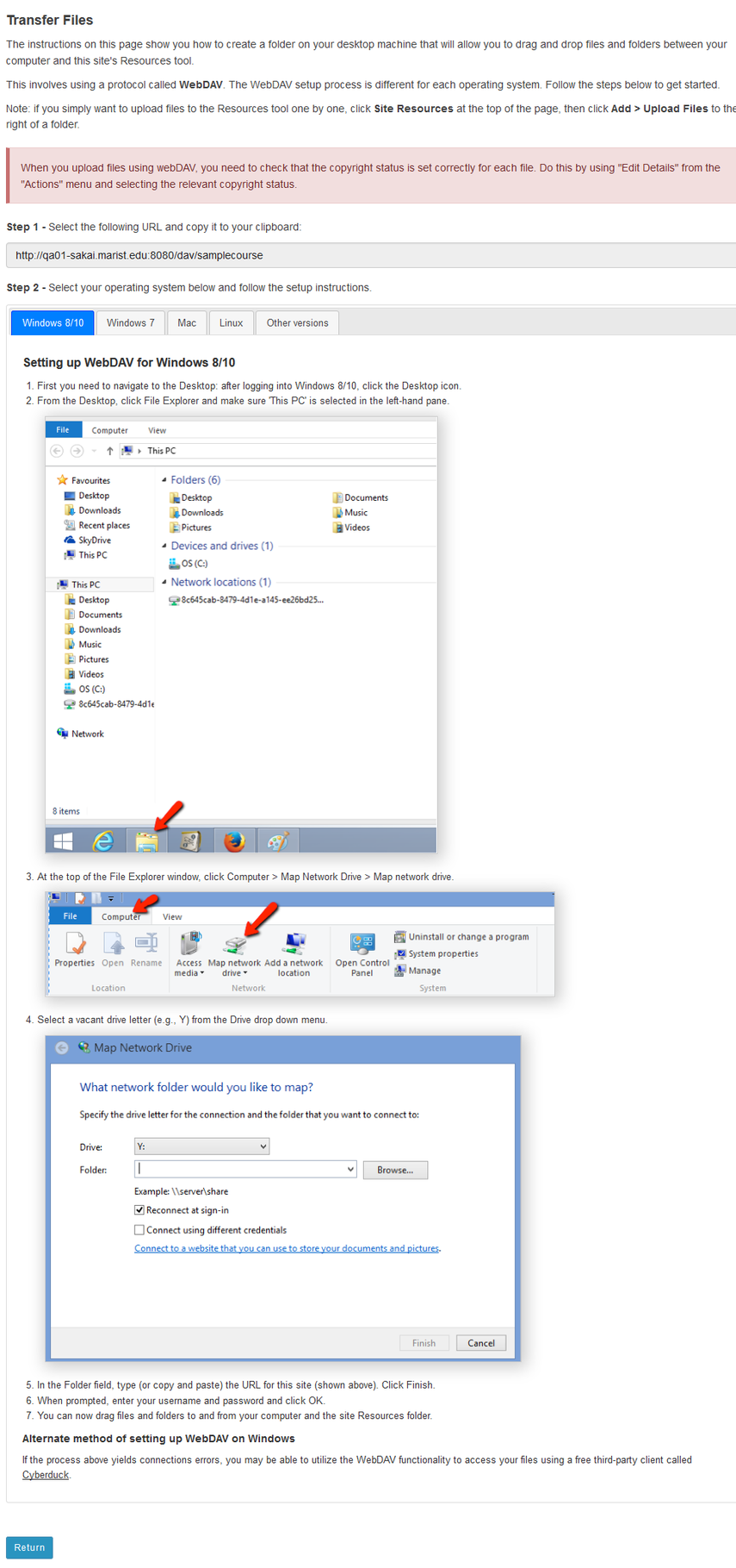 WebDAV instructions will display.