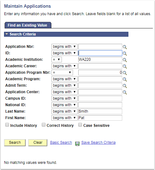 Maintain Applications page