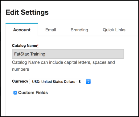 Open the Catalog's Settings within CloudStax to access the Currency selector
