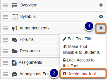 Cog icon drop-down menu with Delete this Tool selected
