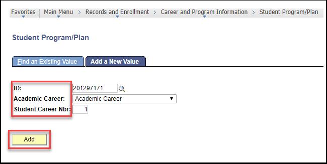 Student Program/Plan page