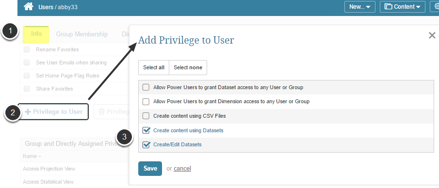 Privileges Related to Being Able to Edit Datasets and User Maps