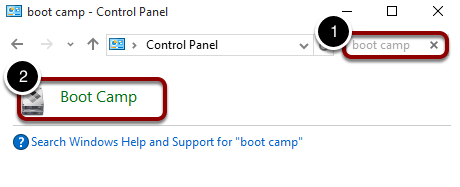 Search for boot camp within the Control Panel
