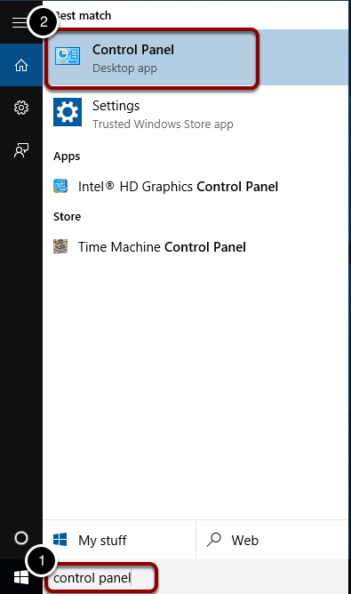 """Search for """"Control Panel"""""""