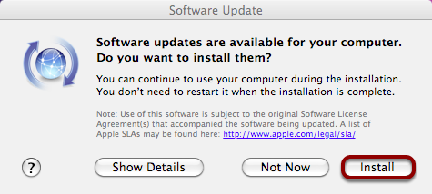 "Click ""Install"" to Install Any Available Updates"