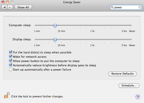 Power settings- Mac