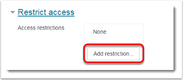Add restriction button is selected.