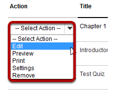 Select Action drop-down menu.
