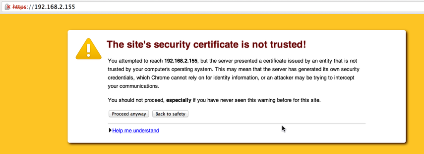Web SSL Certificate warning