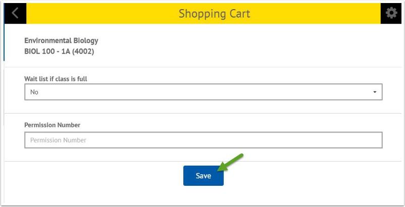 Shopping Cart Save button
