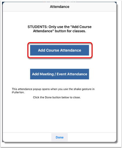 Add Course Attendance button is selected.