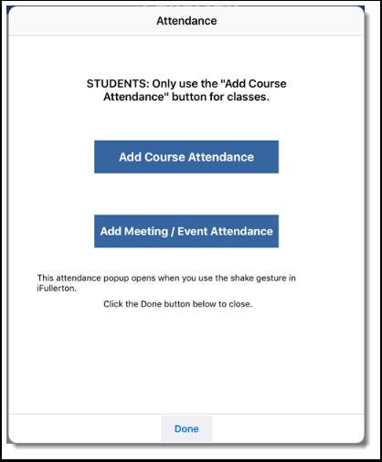 Attendance dialog displays