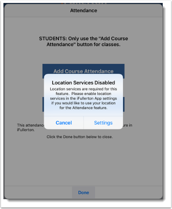 Location services disabled