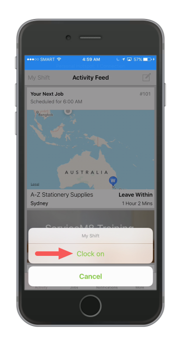 When a staff member clocks on and off in the ServiceM8 mobile app, ServiceM8 generates a timesheet automatically in Deputy
