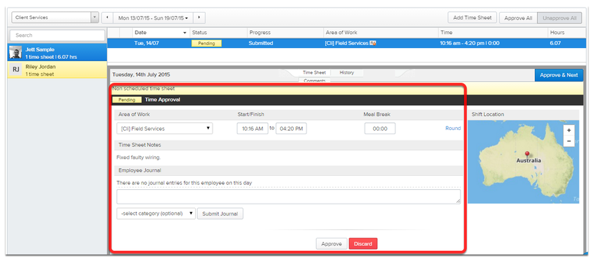 After the staff member clocks out in ServiceM8, a timesheet is created in Deputy.