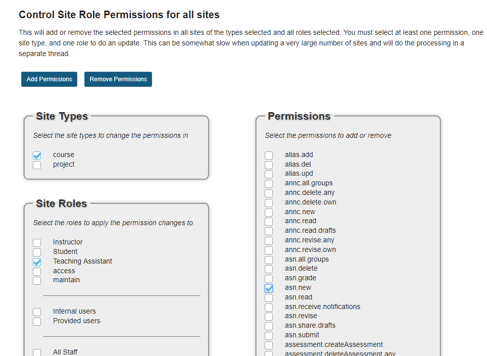 Select the site type, role, and permissions to be added.