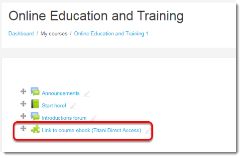 The External tool has created a link on your course main page