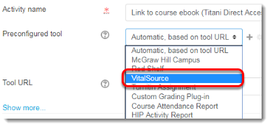 Select VitalSource from the drop down list