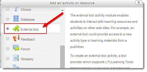 Select External tool from the Activities list.