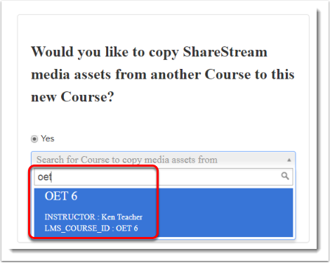 If you have media in another course, tick Yes and type in page of the name of the other course.