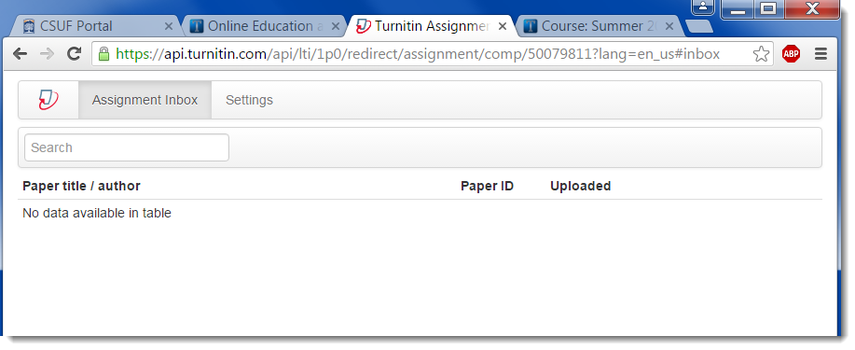 The Turnitin assignment window displays.