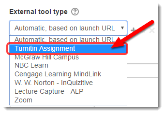 Under External tool type, select Turnitin Assignment.